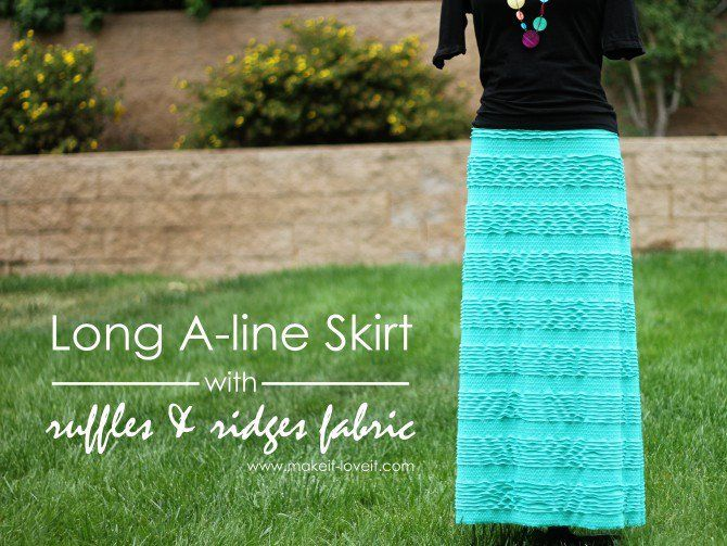 Long A-Line Skirt with ruffles and ridges fabric