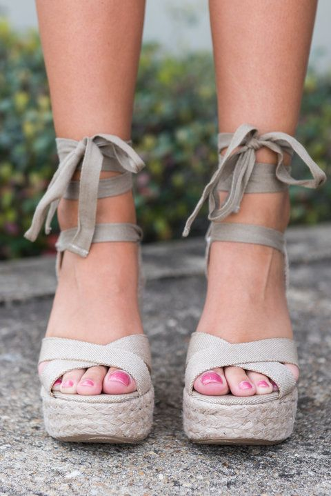 """""""Height Of Happiness Wedges, Tan""""These wedges will not only bring you to new heights in inches they will also bring you to new heights of happiness! #newarrivals #shopthemint"""