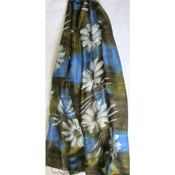Silk Scarf Hand Dyed Hand Woven Natural Pure Raw Silk Wedding Accessories Light Weight Batik Silk Scarf Handmade Wedding Gift For Her (€15) found on Polyvore featuring women's fashion, accessories, scarves, silk scarves, silk shawl, braided scarves, lightweight shawl and lightweight scarves