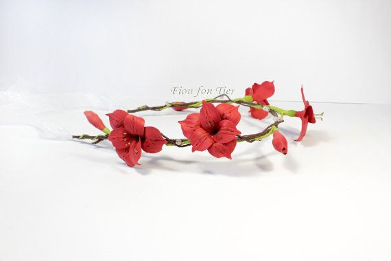 Polymer clay Red Peruvian Lilies tiara by Fionsstudio, $54.00