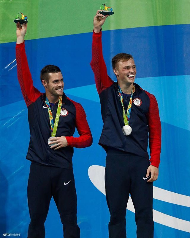 All smiles for @davidboudia and @steele_johnson with their SILVER medal in 10m synchro!