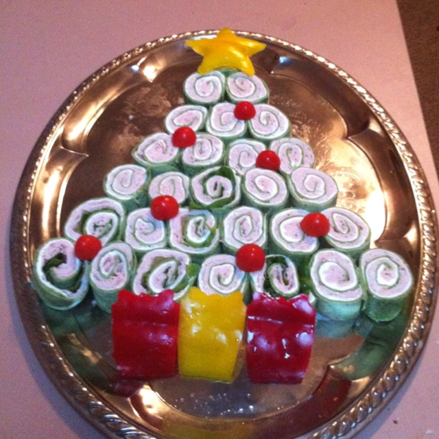 My version of the snack-n-wrap Christmas tree. Made for my work holiday potluck 2011.