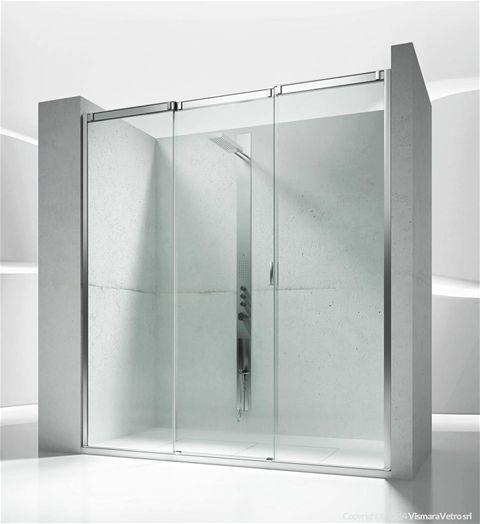 collezione Slide Vismaravetro modello V3 Cabina doccia ad un lato, con apertura scorrevole, per piatti doccia in nicchia.