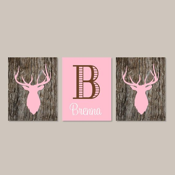 Baby Girl Nursery Decor Girl Bedroom Decor Deer Antler Rustic Nursery Country Girl Nursery Initial Set of 3 Prints Camo Camouflage Bedroom  ★Includes Three Prints - Does not include frames  ★Available in PRINTS or CANVAS (see below)  ★SIZING OPTIONS Available from the drop down menu above the add to cart button with prices.   ★Please include the following in the note at checkout -Initial -Name -Display number (in order from 1-4) or your color choices ★If you are interested in custom colors…