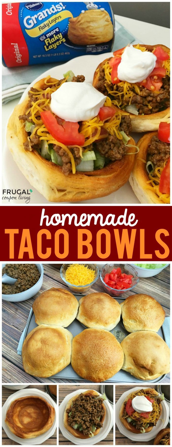 Pillsbury Grands Homemade Taco Bowls on Frugal Coupon Living. Pillsbury Recipe. Taco Tuesday Recipe Idea.