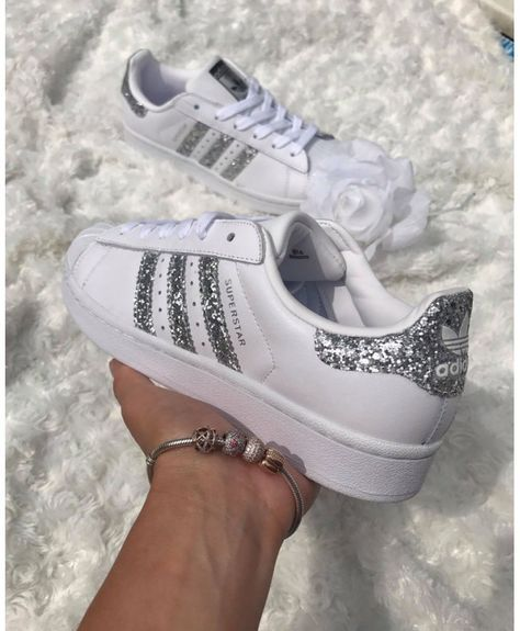 Womens Adidas Superstar White Metallic Silver Glitter Trainers