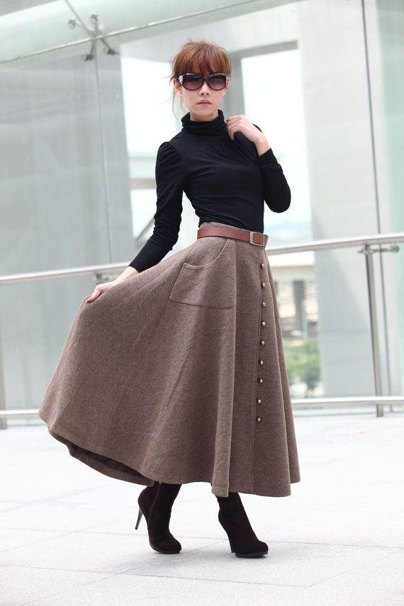 Graceful Camel Wool Big Sweep Long Maxi Skirt  by Sophiaclothing, $79.99