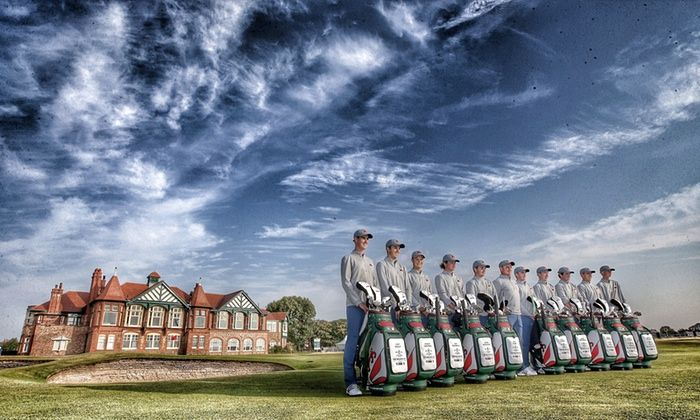Lytham St Annes, UK The Great Britain and Ireland team pose in front of the clubhouse before their final practice round for the 2015 Walker Cup golf tournament which starts on Saturday. (Image enhanced using digital filters) Photograph: Jan Kruger