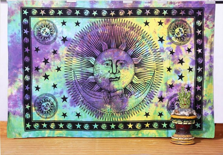 Tie Dyed Sun and Moon Tapestry, Hippy Wall Hanging, Hippie Bed Cover, Decorated Throw ,Table Cover, and Curtain: Amazon.co.uk: Kitchen & Home