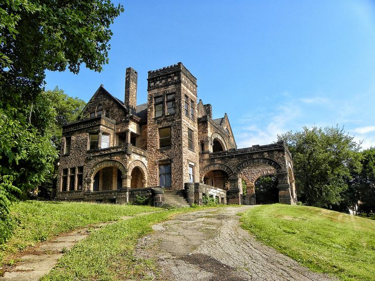 """""""Sharon, Pennsylvania - Victorian Stone Mansion on The Hill. This mansion is now being offered for sale on eBay. The grand home, built in 1890, features no less than 22 rooms, 8 fireplaces & 16,000 sqft."""