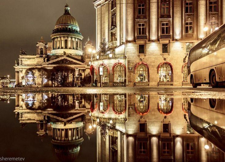 Ночные фото Санкт-Петербурга: отражения