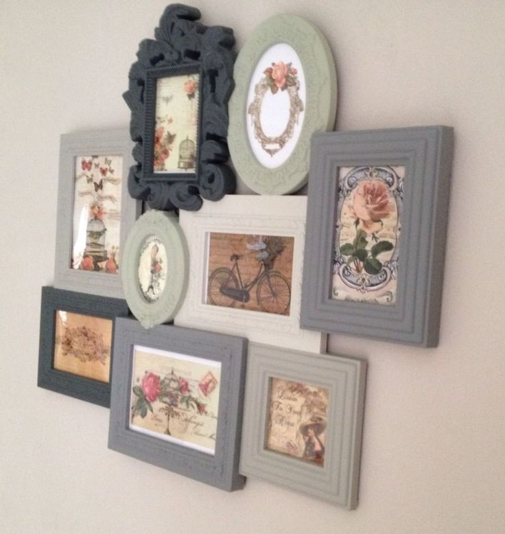 shabby chic vintage photo picture frames multi frame period grey green cream
