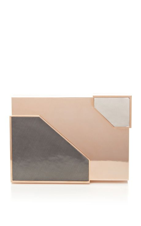 M'O Exclusive: Broken Space Rose Gold-Plated Clutch by Lee Savage