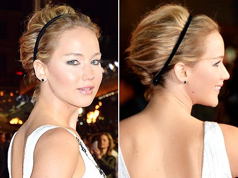 A close-up look at Jennifer Lawrence's updo, pinned in place with a skinny headband, at the Mockingjay premiere on Nov. 10.