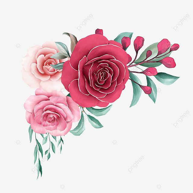 Elegante Decoracion Floral De Acuarela Con Borde De Flores De Rosas Rojas Y Duraznos Clipart Acuarela Floral Flores Png Y Psd Para Descargar Gratis Pngtree Acuarela Floral Ilustracion De Rosa