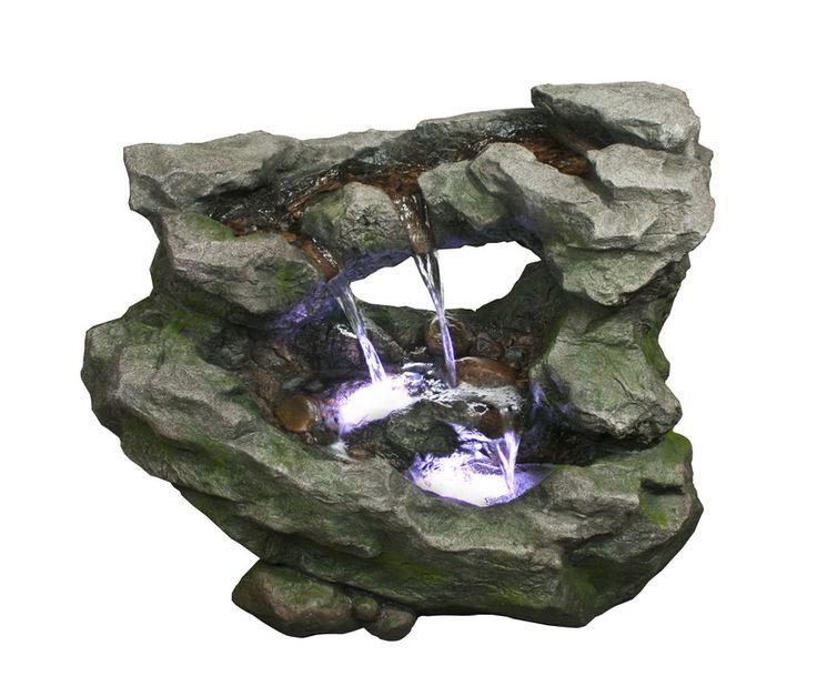 Jedná se o fontánu, která imituje potůček stékající po kamenné římse. LED dioda osvětluje místa dopadající vody. Z nejspodnějšího jezírka je voda přečerpána zpět do skalní římsy. Díky proudu stékající vody funguje také jako osvěžovač vzduchu v interiérech. Umístit ji můžete do bytů, domů, kanceláří či vestibulů, ale díky odolnému materiálu Polyresin je vhodná i do zahrad.