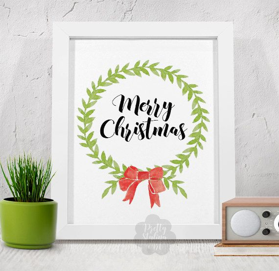 Merry Christmas Wreath Christmas Decor by PrettyStylingArt on Etsy