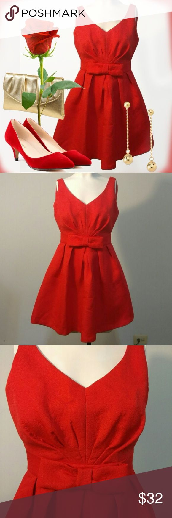 """Petite Collection Embossed Rose Texture Red Dress Petite Collection Embossed Rose Texture Red Dress Size 4 NWT Bust: 36""""/ Waist: 24.5""""/ Length: 31.5."""" Red dress size 4 mini with rose texture embossed fabric detail. Please, see photos. Accessories not included*  PRICE FIRM = Not accepting offers.  Thanks ;-) Petite Collection Dresses Mini"""
