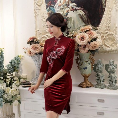 Burgundy Velour Half Sleeve Knee Length Cheongsam Floral Evening Dress