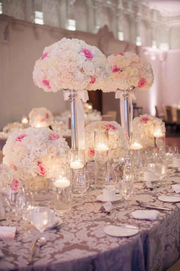 Rose topiaries and floating candles reception decor for How to make wedding centerpieces