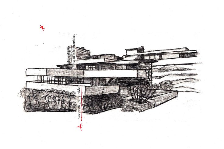 Home element fallingwater frank lloyd wright tattoo - Maison sur la cascade ...
