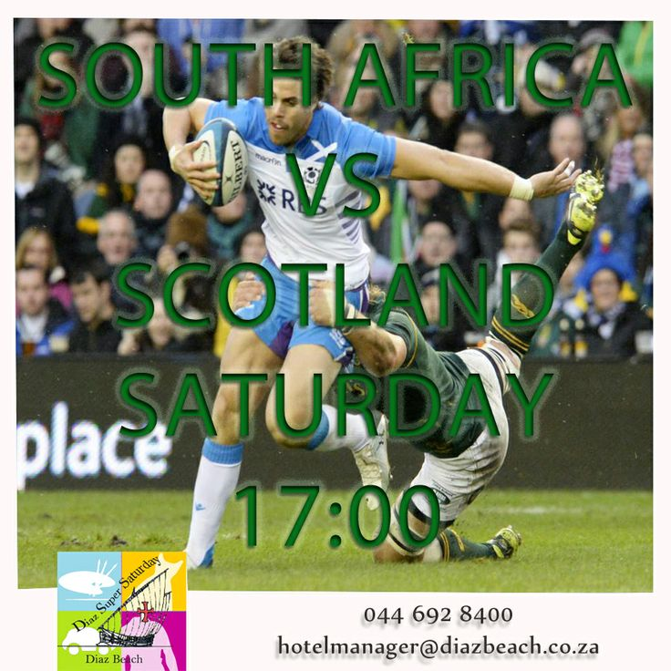 Come support South Africa for their game against Scotland. Kick off will be at 17:00. Come have a cold beverage at Pirates Tower Cocktail Bar! To see more of the Festival:  http://tinyurl.com/orov4w4 #PiratesTower #Diaz #DiazSuperSaturday  Alcohol not sold to u/18's