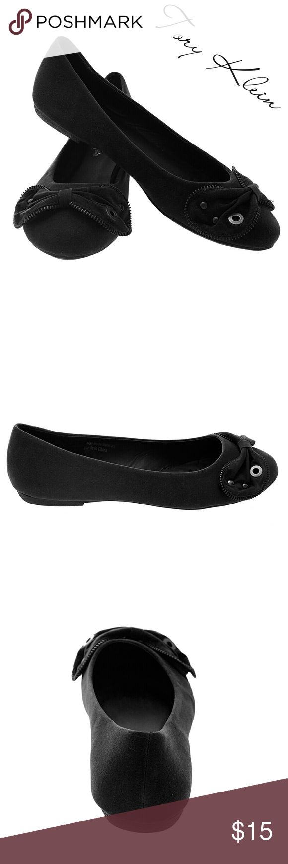 Tory K Zipper Bow Ballerina Flats, b-1316, Black Brand new Tory Klein woman ballerina flats in PU leather with a fancy zipper outlined bow in the front. Bow has metal decoration on it. Lightly cushioned sole, very comfortable, decorated bottom sole. Larger sizes run small. Size 8 measures 9.5 inches in length, all half sizes are in 1/4 inch increments of each other. A true statement in ladies shoes fashion! Tory K  Shoes Flats & Loafers
