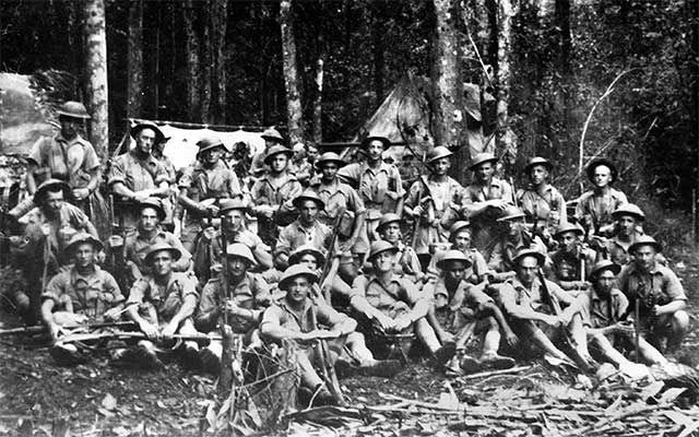 Australian soldiers resting while fighting the Japanese along the notorious Kokoda Track in Papua New Guinea, in WWII
