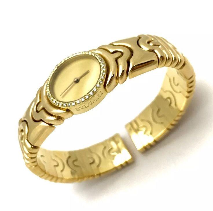 bvlgari parentesi 18k solid yellow gold ladies bracelet watch w diamonds in box