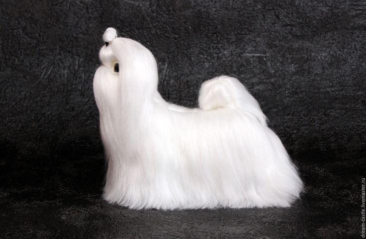 Купить Мальтийские болонки - белый, мальтийская болонка, мальтезе, собака из шерсти, войлочная игрушка