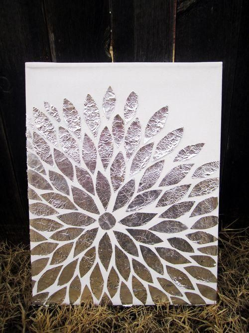 DIY Arts &  Crafts : DIY Foil Art - Step by Step Instructions - Fun  Easy Art Work! I am doing this right now!! What a fun, have everything right at home to do now. I think I will even paint the canvas first. Yippie