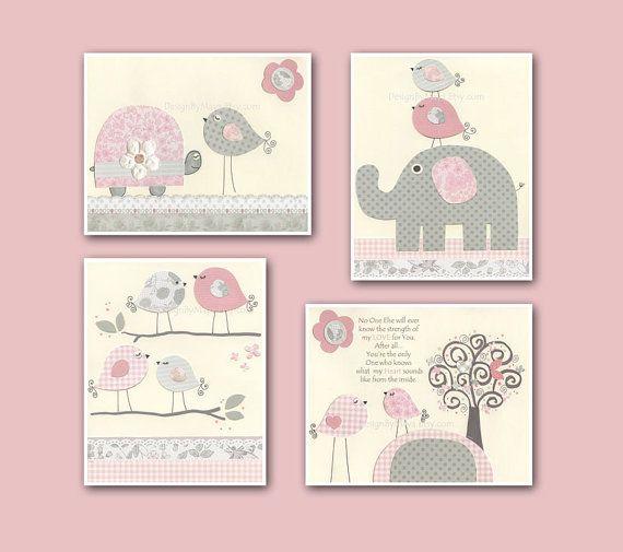 Baby Girl Nursery Wall Art, Baby Girl Nursery Decor, Nursery wall art for Girl Room Decor  // Pink and Gray // Set of 4 8x10 Nursery Prints on Etsy, $65.00