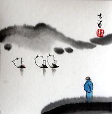 """Китайский небольшой покраски развития дзен 6.7x6.7"""" xieyi щетка чернил восточный азиатский чан арт"""