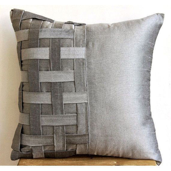 Decorative Throw Pillow Covers Couch Pillow 16x16 Inch Silk Pillow Cover with Basket Weave Grey Silver Bricks Home Living Decor Housewares
