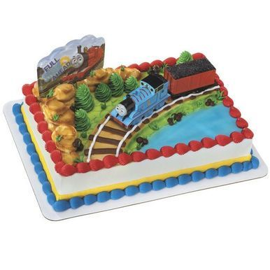 Thomas the Tank Engine and a Coal Car train cake decorating set. Your little Thomas train lover will simply adore this wonderful birthday cake kit! This 5