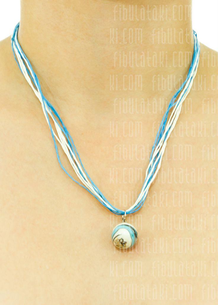 Fibula Takı / Kolye - ip - mavi, beyaz