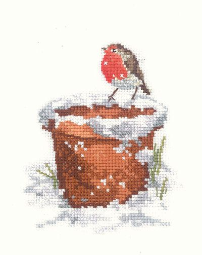 A lovely picture for Christmas of a robin redbreast on a flower pot, hoping for some crumbs.