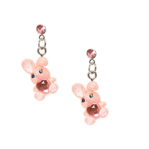 Pink Glitter Easter Bunny Drop Earrings ($5.99) ❤ liked on Polyvore featuring jewelry, earrings, sparkle jewelry, pink drop earrings, plastic jewelry, pink earrings and crystal stud earrings