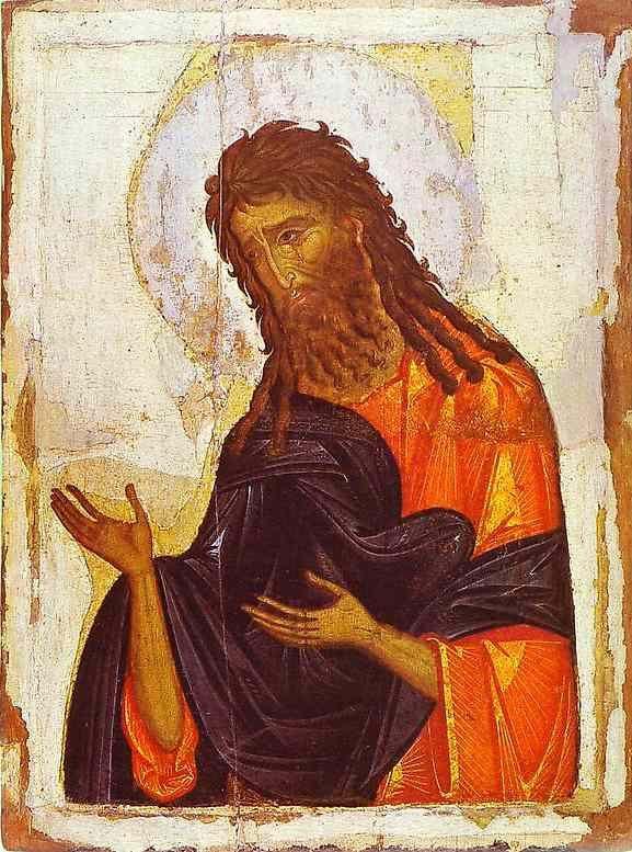Saint Jean-Baptiste. Icône Byzantine du 14ème siècle. Musée de L'Ermitage, Saint Pétersbourg. Russie.