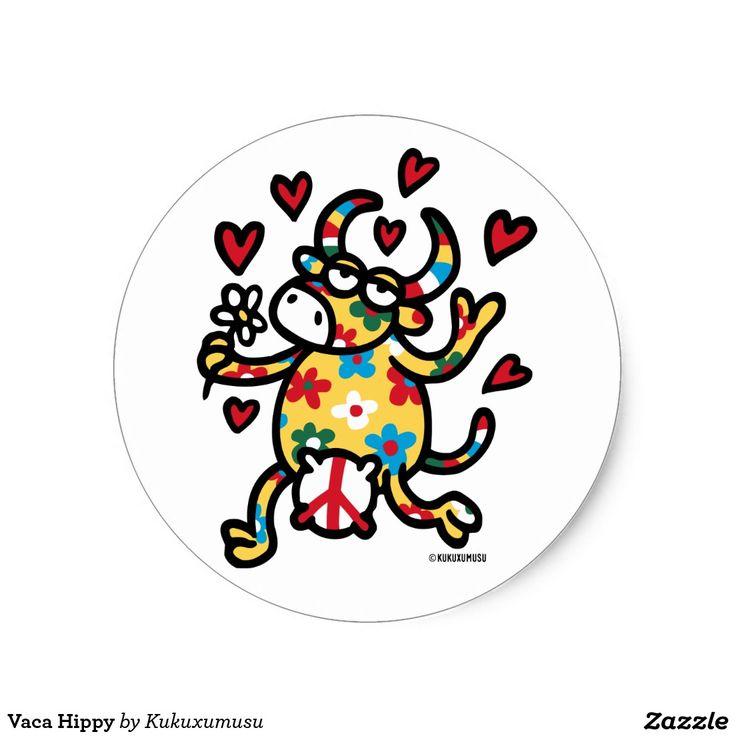 Vaca Hippy. Regalos, Gifts. Día de los enamorados, amor. Valentine's Day, love. #ValentinesDay #SanValentin #love #sticker