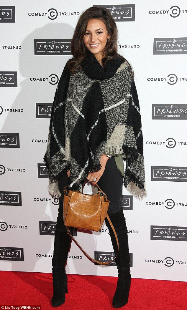 High-street style: Opting for skinny jeans, the former Coronation Street actress sported a huge pashmina and over-the-knee boots with a tan-coloured bag