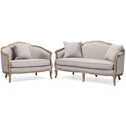 Baxton Studio Chantal French Country White Wash Weathered Oak Distressed Beige Linen Upholstered 3-seater Sofa and 2-seater Loveseat Living room Set Affordable modern furniture in Chicago, classic living room furniture, modern living room sofa, cheap sofa sets $1200