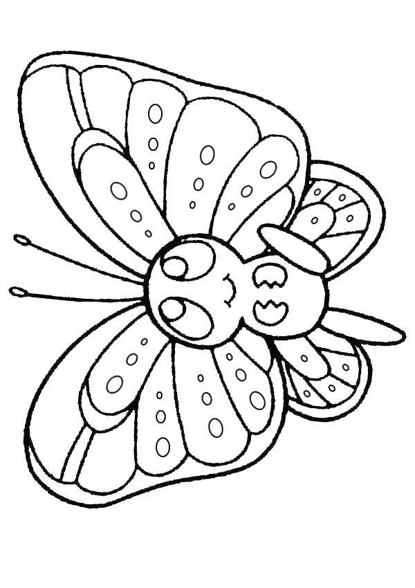 free online printable kids colouring pages baby butterfly colouring page - Kids Colouring
