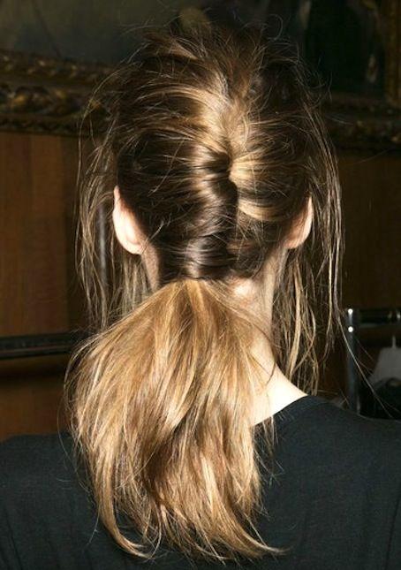 chignon ponytail.