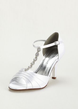 """Add some shine and style to your outfit for your next special event with these lovely shoes!   Dyeable satin shoe features crystal t-strap for added support.  Heel height: 3"""".  Fully Lined.  Imported."""