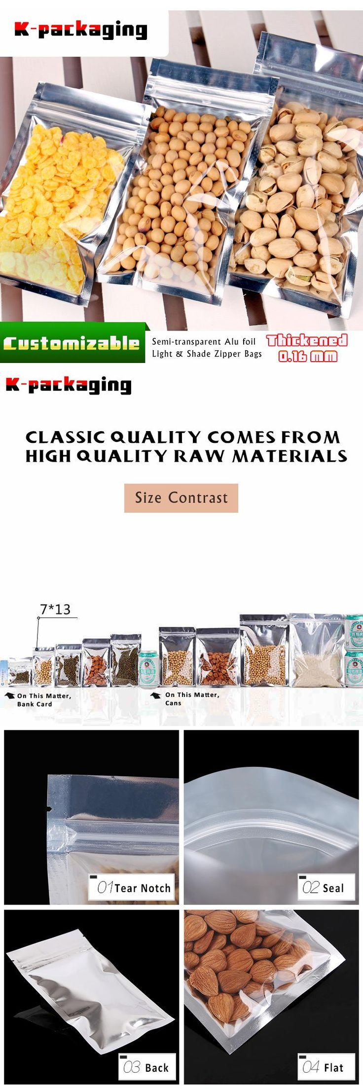 [Visit to Buy] 5 pcs 7x13cm Food Grade Zip Lock Small Sachet / Foil Sachet Packaging / Mylar Foil Pouch Suppliers #Advertisement