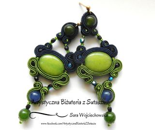Green and navy blue jade and soutache braids. Gorgeous. For more please visit my website!