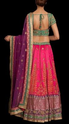 A fuschia/ emerald lehnga in silk satin with ari tikki hand embroidery