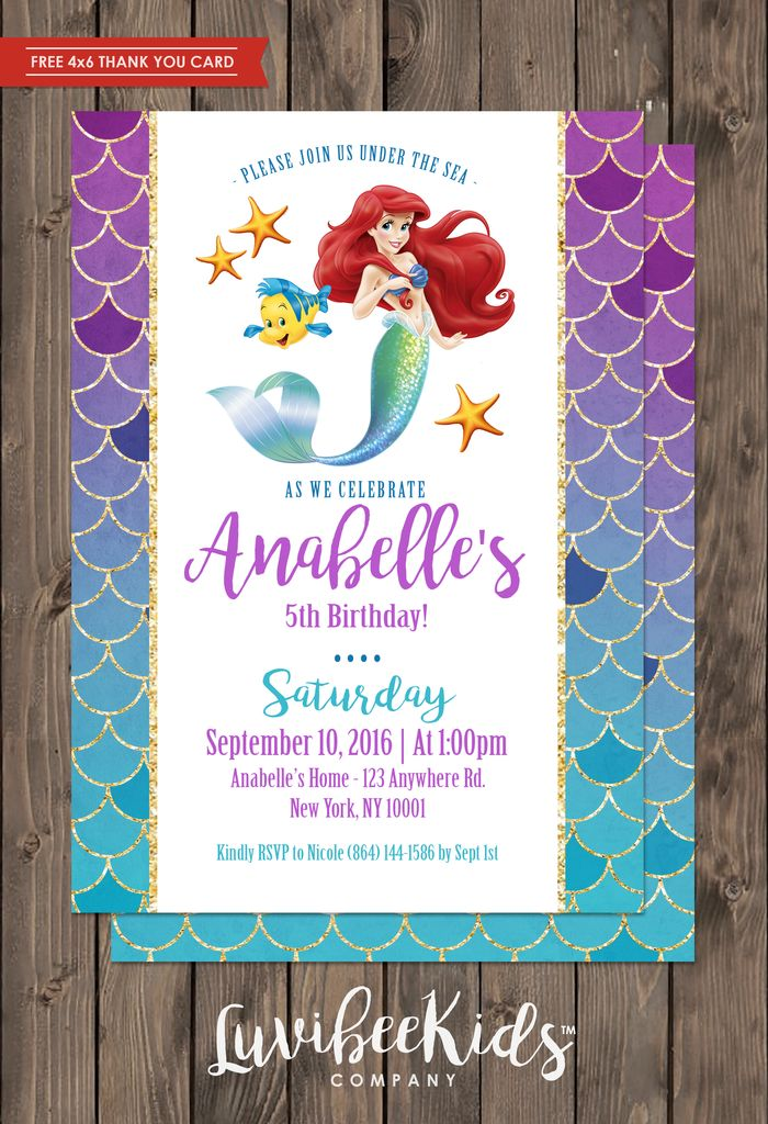 Little Mermaid Invitation | Free Backside & Thank You Card [New] - LuvibeeKidsCo