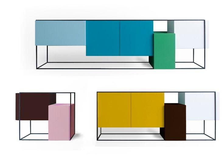 Bahut multicolore de forme originale par Moca